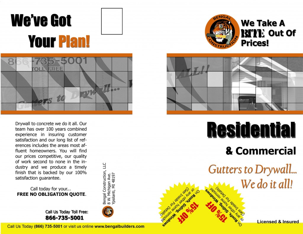 Bengal Construction - Flyer (front)