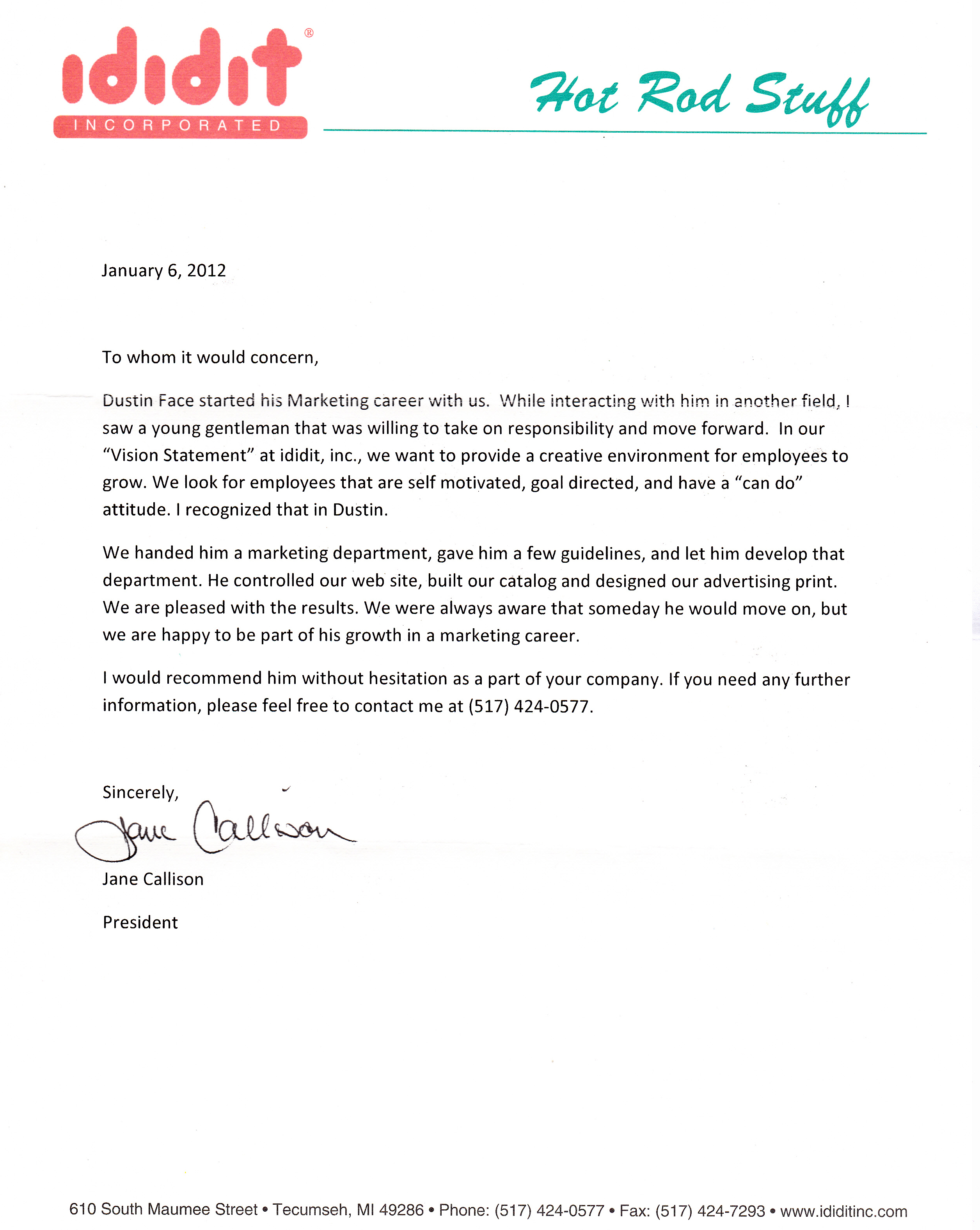 Letter of Recommendation ididit incorporated - dustinface.com ...