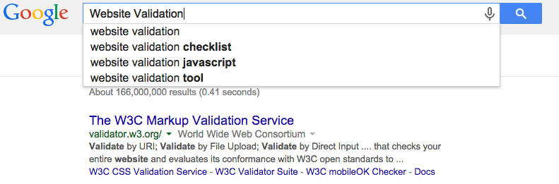 Google Chrome Website Validation Query