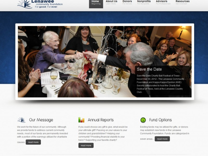 Lenawee Community Foundation Website Homepage